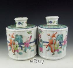 Super Pair of China Antique Famille Rose Porcelain Tea Caddies