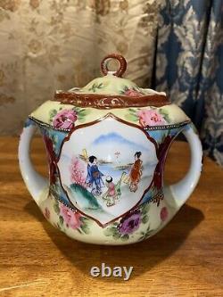 Tashiro zo Tea Caddy Biscuit Jar Japan Porcelain mark Taisho Period Antique EC