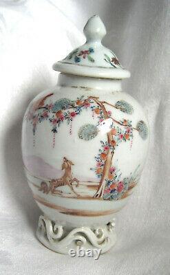 Tropical bird + faithful dog, Valentine Chinese porcelain tea caddy 1760-95