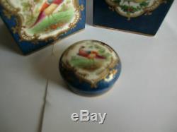 Two Crown Staffordshire Hand Painted Tea Caddies Circa 1900 rare