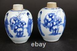 Two antique chinese porcelain tea caddies Kangxi 1662-1722 figures