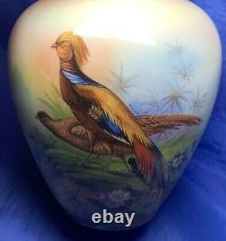 Unusual Solid Silver & Porcelain Tea Caddy With Painted Pheasant Scene 1913