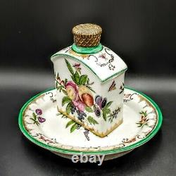 Vintage Chinese Export Hand Painted Porcelain Tea Caddy withBronze Lid & Tray 1970