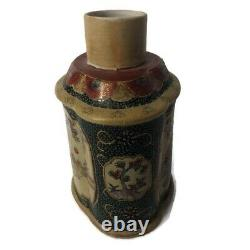 Vintage Chinese Export Porcelain Tea Caddy Hand Painted Vase
