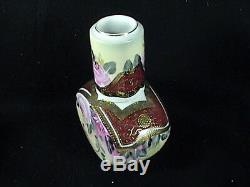 Vintage KPM Porcelain Lidded Tea Caddy WithCup Pink Roses Gold Vines And Trim