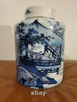 Vintage Style Blue and White Blue Willow Porcelain Tea Caddy Jar