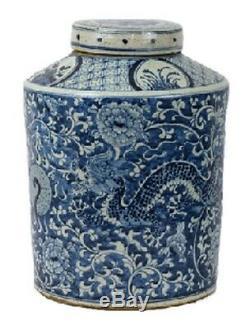 Vintage Style Blue and White Dragon Motif Porcelain Tea Caddy Jar 16