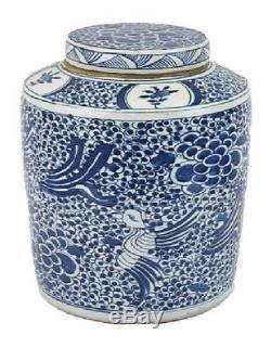 Vintage Style Blue and White Phoenix Motif Porcelain Tea Caddy Jar 17