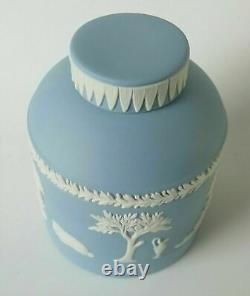Wedgwood Blue Jasperware Tea Canister / Tea Caddy Signed