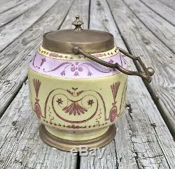 Wong Lee Pink & Yellow Art Deco Porcelain & Bronze Tea Caddy with Handle