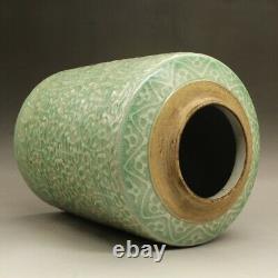 10.6 Chine Ombre Vert Glaze Porcelaine Shou Motif Décoratif Thé-caddy Pot