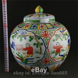 11.2china Couleur Porcelaine Antique Enfants Boy Play Chess Tea Caddy Pot Kettle