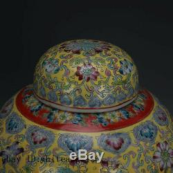 11 Chine Antique Porcelaine Marque Qing Fleur De Peinture Jaune Tea Caddy