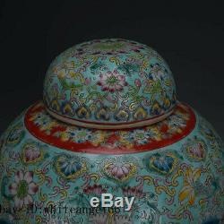 11 Marque Chinoise Antique Qianlong Porcelaine Qing Famille Rose Fleur Tea Caddy