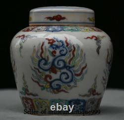 11cm Vieux Chinois Couleur De La Porcelain Porcelaine De Dynasting The Pot Pot Jar Poucher Caddy