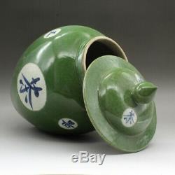 14,6 Chinois Céramique Porcelaine Verte Glaze Couverture Pot Bouilloire Pot Thé Caddy