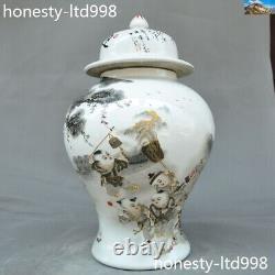 14 Chinois Wucai Porcelaine Tong Zi Enfants Réservoirs De Jeu De Jeu Caddie Pot Crock Thé