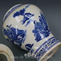 15.4 Chine Bleu Blanc Porcelaine Antique Général Pot Can Canister Tea Caddy