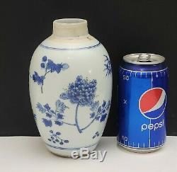 17 C Antique Chinois Bleu Et Blanc Porcelaine Tea Caddy Vase / Pot
