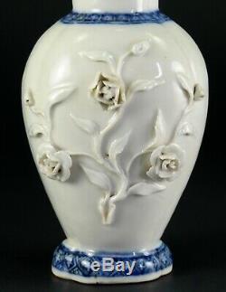 1735-1796 Qianlong Qing Chinese Fine Porcelaine Tea Caddy Bleu & Blanc, Roses