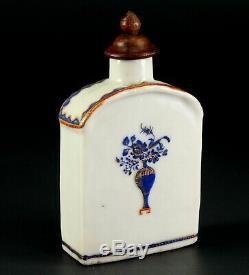 1735-1796 Qianlong Qing Chinese Fine Porcelaine Tea Caddy Bleu, Rouge Et Or 3.9
