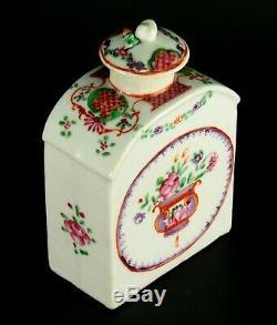 1735-1796 Qianlong Qing Chinese Fine Porcelaine Tea Caddy Famille Rose Mandarin