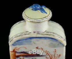 1735-1796 Qianlong Qing Chinese Fine Porcelaine Tea Caddy Figural Polychrome