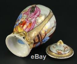 1735-1796 Qianlong Qing Chinese Fine Porcelaine Tea Caddy Figural Scène 5.3