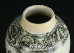 1735-1796 Qianlong Qing Chinese Fine Thé En Porcelaine Caddy Leigong Thunder God
