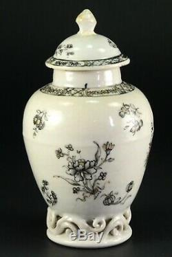 1735-1796 Qianlong Qing Chinese Fine Thé En Porcelaine Caddy Noir Et Blanc Floral