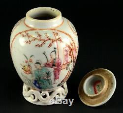 1735-1796 Qianlong Qing Chinese Fine Thé En Porcelaine Caddy Rouge Et Blanc 4.9