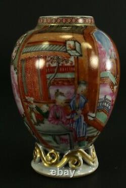 =1735-1796 Qianlong Qing Chinois Mandarin Fine Porcelaine Tea Caddy Famille Rose