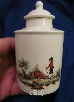 18 C Pâte Molle Porcelaine English Tea Caddy Email Rural Figural Scène