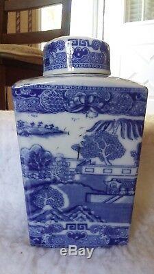 18c Antique Bleu Blanc Porcelaine 8 Caddie Thé Canister Urn Vase Jar