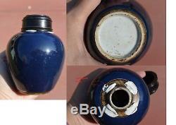 18c Chinois Bleu Cobalt Glaze Monochrome À Thé En Porcelaine Caddy Vase En Bois Couvercle Couverture