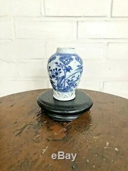 18c Porcelaine Chinoise Bleu Et Blanc Pot De Boîte À Thé Vase Pré 1800 Kangxi Da Ming