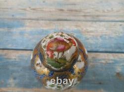 18ème C. Worcester Porcelaine Thé Cannister W Oiseaux Exotiques Et Insectes, Échelle Bleue