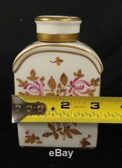19 Antique Tea Caddy Bouteille & Cover Floral Porcelain Paris Edme Samson France