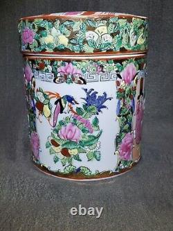 19 C Chinois Rose Medallion Canton Famille Tea Caddy Box Et Couvercle 6 Porcelaine