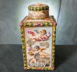 19 Superb Tard. Siècle Peintes À La Main Relief Capodimonte Porcelaine Tea Caddy