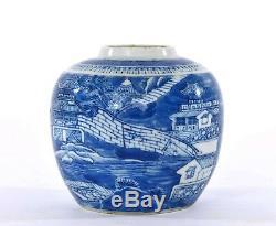 1900 Porcelaine Bleu Et Blanc Chinois Thé Vase Caddy Ginger Jar Paysage
