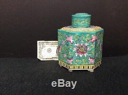 1920 Chinois Émaillé À Thé En Porcelaine Caddy