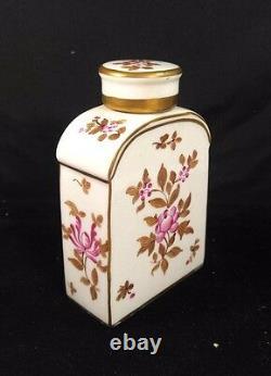 19ème Antique Tea Caddy Floral Bottle & Cover Porcelaine Paris Edme Samson France