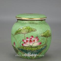3.5 Chine Porcelaine Verte Glaze Famille Rose Fleur De Lotus Leaf Tea Pot Canister