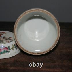 4.4 Famille Chinoise Rose Porcelaine Figure Histoires Type De Tambour Caddy Feuilles De Thé Pot