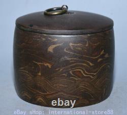 4.6 Marqué Vieux Chinois Yixing Yixing Poterie Stripe Caddy Thé Canister Pot Réservoir