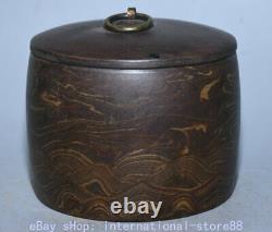 4.6 Vieux Chinois Marqué Yixing Zisha Pottery Stripe Caddy Boîte De Conserve De Thé