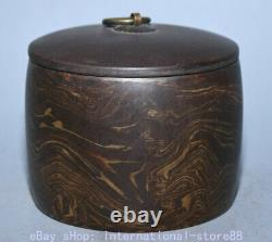 4.6 Vieux Chinois Marqué Yixing Zisha Pottery Stripe Caddy Tea Canister Tank Jar
