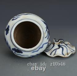 4.8 Chine Antique Vieille Porcelaine Yuan Qinghua Dragon Modèle Thé Caddy Une Paire