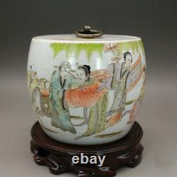 4 Chinois Antique Porcelaine Qing Dynastie Famille Rose Beauté Homme Thé Caddy Pot